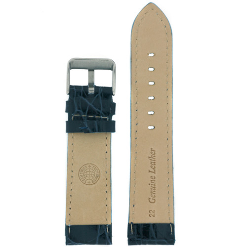 Blue Leather Watch Band with Crocodiledile Grain by Tech Swiss - Bottom View - Main