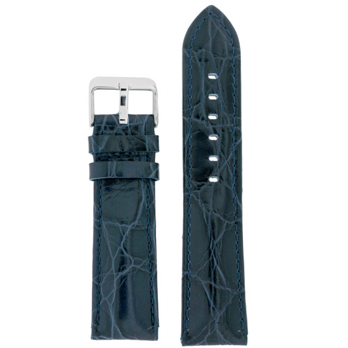 Blue Leather Watch Band with Crocodile Grain by Tech Swiss - Top View