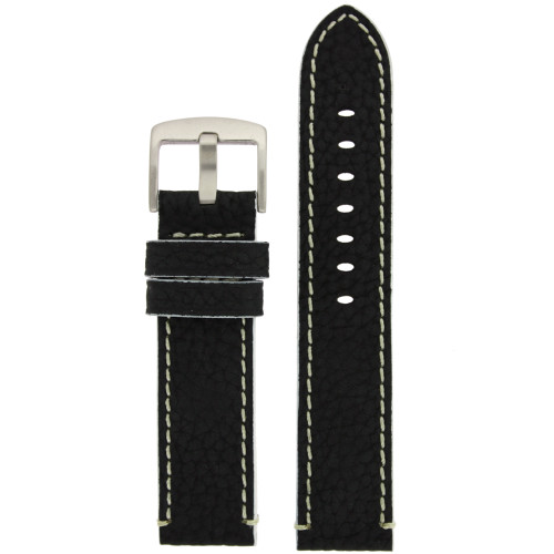 Watch Band Leather Black and White