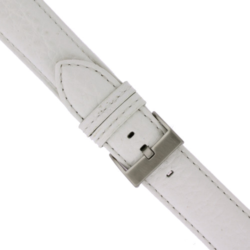 White Leather Watch Band - buckle view - Main
