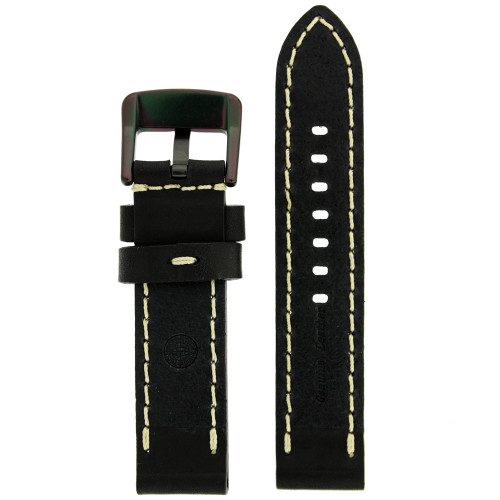 Black Leather Watch Band with White Topstitching - Bottom View