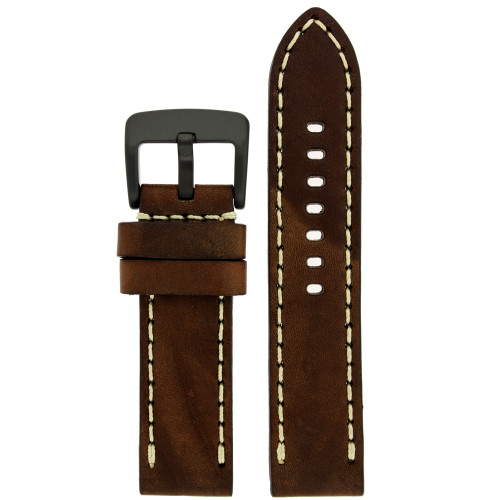 Dark Brown Leather Watch Band with White Topstitching - Top View