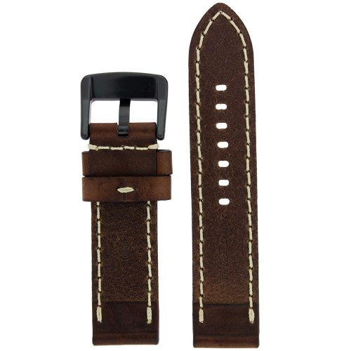 Dark Brown Leather Watch Band with White Topstitching - Bottom View