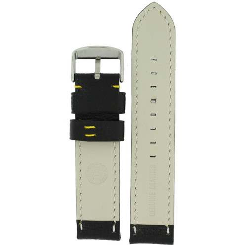Long Black Leather Watch Band with Yellow Topstitching - Bottom View