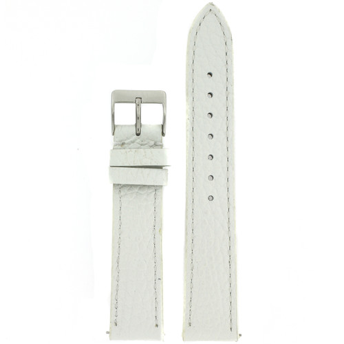 Watch Band Metallic White Leather Padded Built-In Spring Bars