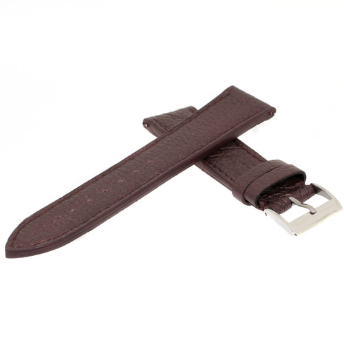 Watch Band Metallic Plum Purple Leather Padded Built-In Spring Bars - Main
