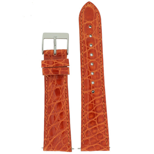 Watch Band Ladies Orange Crocodile Padded Built-In Spring Bars