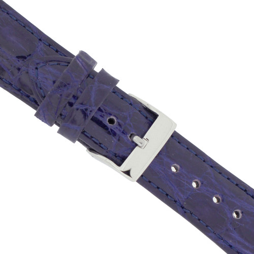 Watch Band Ladies Royal Blue Crocodile Padded Built-In Spring Bars