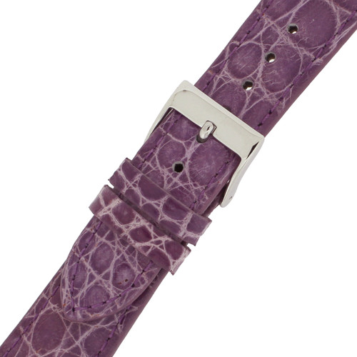 Watch Band Ladies Purple Crocodiledile Padded Built-In Spring Bars - Main