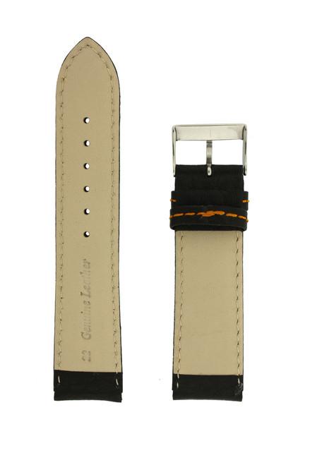 Leather Sport Style Watch Band Black Orange Stitching - Main