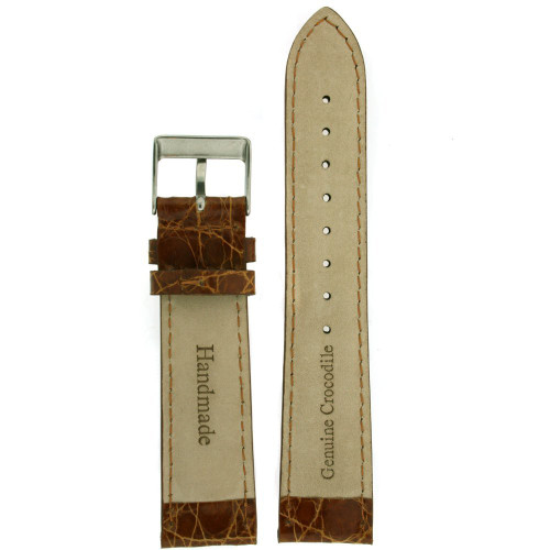 Genuine Crocodiledile Watch Band  Brown Stitching Padded - Main