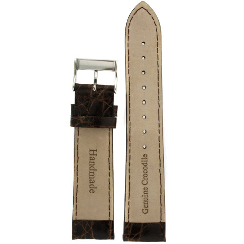 Genuine Crocodiledile XL Watch Band Dark Brown Stitching Padded - Main