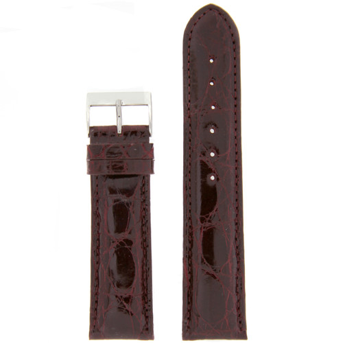 Genuine Leather Crocodile Grain Replacement Watch Band - Top View