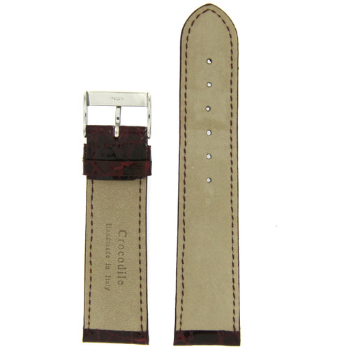 Genuine Leather Crocodiledile Grain Replacement Watch Band - Bottom View - Main