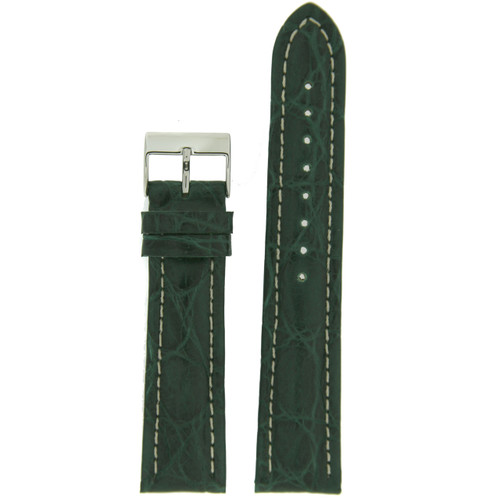 Genuine Crocodile Green Thick Padded White Stitched Watch Band