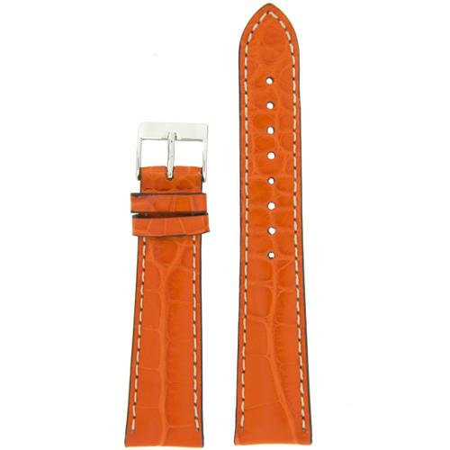 Watch Band Genuine Alligator Orange With White Stitching