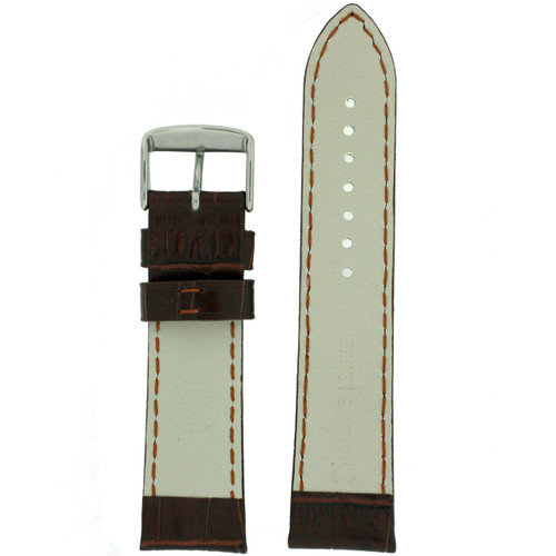Brown Crocodile Grain Watch Band by Tech Swiss - Interior View