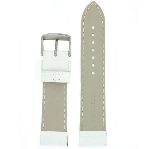 Crocodiledile Grain Watch Band in White by Tech Swiss - Bottom View - Main