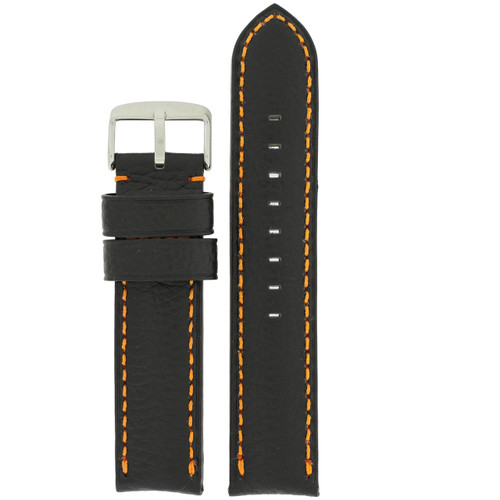 Long Black Watch Band with Orange Topstitching - Top View