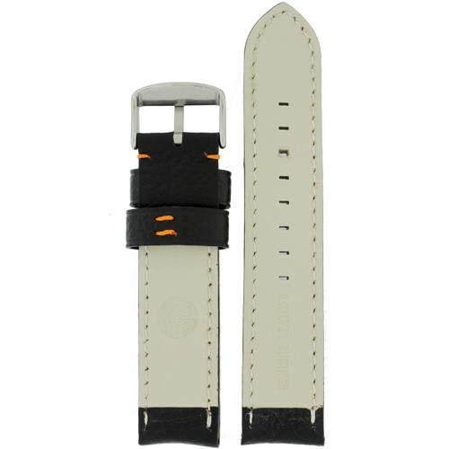 Long Black Watch Band with Orange Topstitching - Bottom View