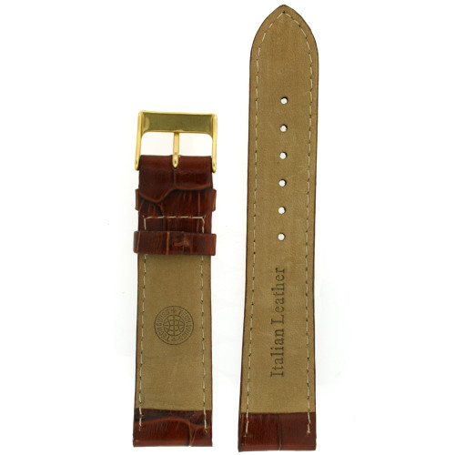 Dark Brown Leather Watch Band with Crocodiledile Grain - Bottom View - Main