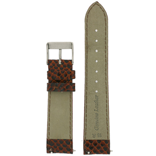 Genuine Leather Watch Band in Snake Grain and Quick Release - Bottom View - Main