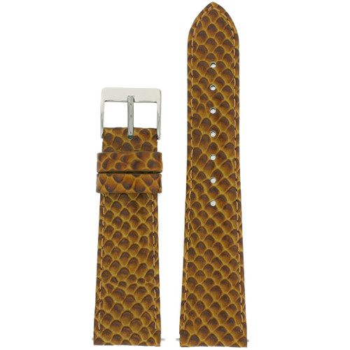 Watch Band in Snake Grain in Honey Brown by Tech Swiss - Top View