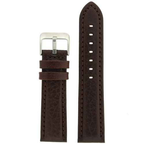 Leather Watch Band with Padding in Dark Brown by Tech Swiss - Top View