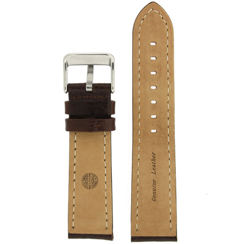 Leather Watch Band with Padding in Dark Brown by Tech Swiss - Bottom View - Main