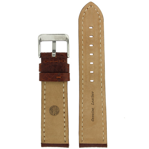 Genuine Leather Watch Band with Padding in Honey Brown - Bottom View - Main