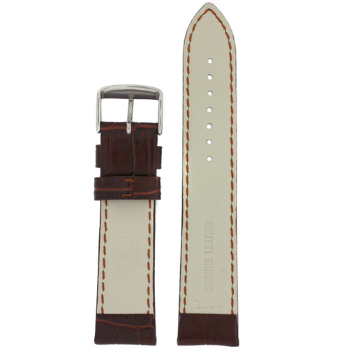 Extra Long Leather Crocodiledile Grain Watch Band - Bottom View - Main