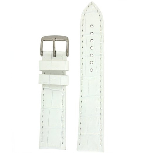 XL Leather Watch Band in White Crocodile Grain - Top View