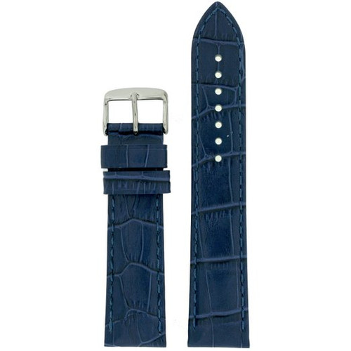 Long Blue Leather Watch Band with Crocodile Print - Top View
