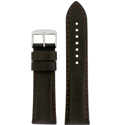 Genuine Leather Calfskin Watch Band in Brown - Top View