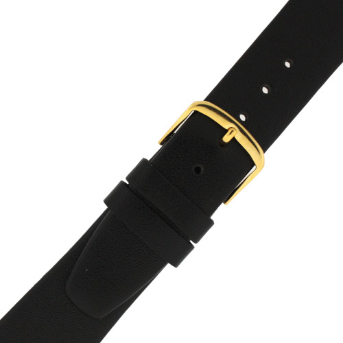 Genuine Calfskin Leather Watch Band in Black