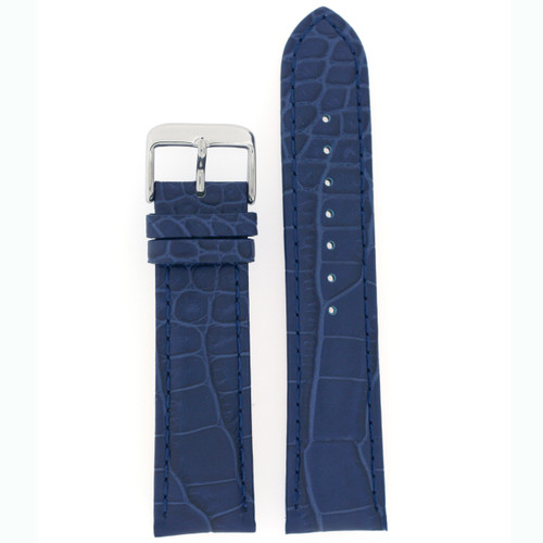 Watch Band with Crocodile Grain in Blue - Top View
