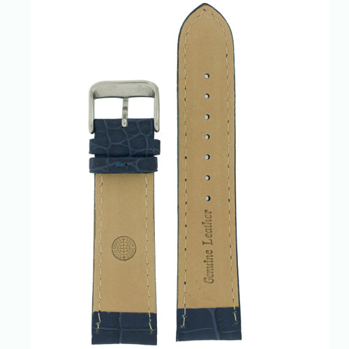 Watch Band with Crocodile Grain in Blue - Bottom View