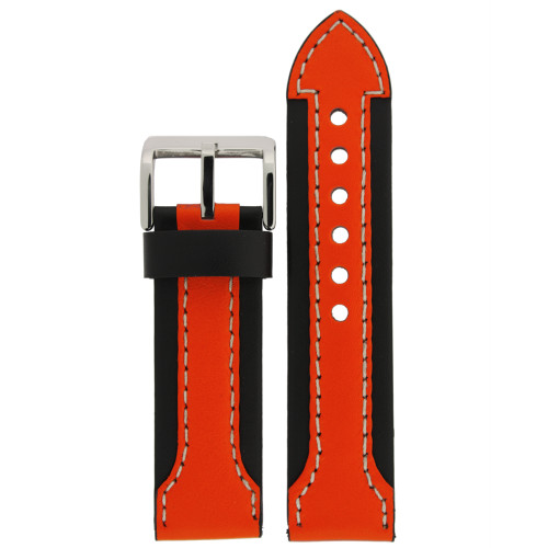 Sporty Leather Watch Band in Black and Orange by Tech Swiss - Top View