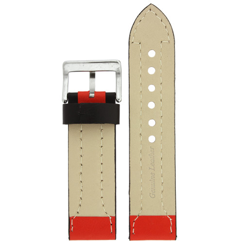 Black and Red Sporty Leather Watch Band - Bottom View - Main