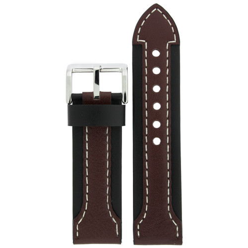 Brown Leather Sporty Watch Band - Top View