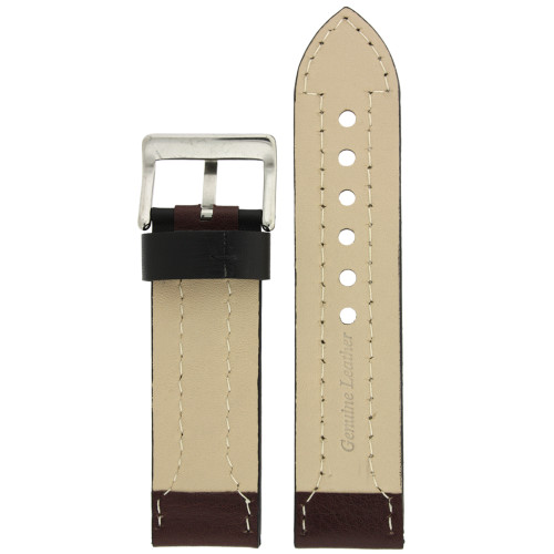 Brown Leather Sporty Watch Band - Bottom View - Main
