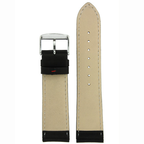 Black Leather Watch Band with Red Stitching - Bottom View - Main