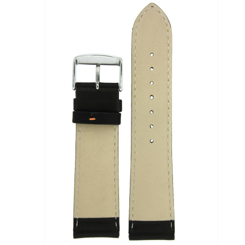 Black Leather Watch Band with Orange Trim - Bottom View - Main