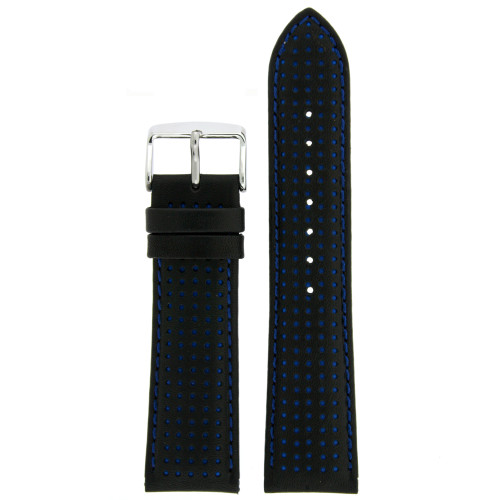 Black and Blue Leather Watch Band by Tech Swiss - Top View