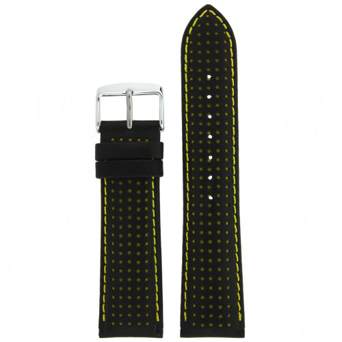 Black and Yellow Leather Sports Watch Band - Top View