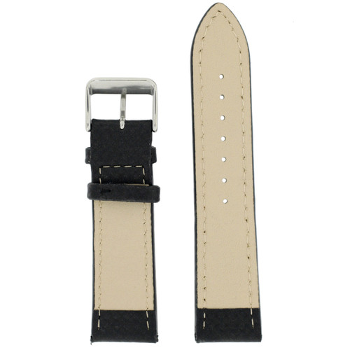 Carbon Fiber Print Watch Band with Black & Orange Stitching - Main