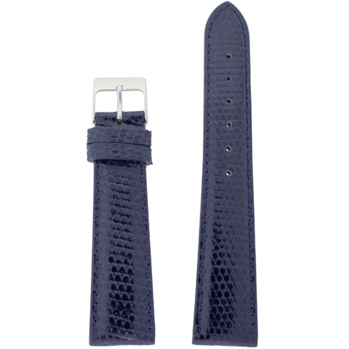 Genuine Lizard Watch Band in Navy Blue With Built-In Spring Bars