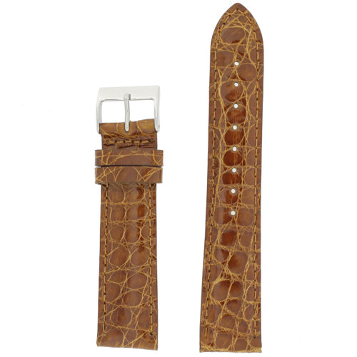 Genuine Crocodile Watch Band in Cognac Brown - Top View