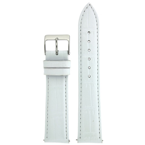 White Crocodile Grain Watch Band - Top View