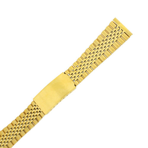 Watch Band Jubilee Style Link Metal Gold-Tone Straight Ends - TSMET229